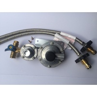LPG REGULATOR KIT TWIN/DUAL STAGE 250MJ SUIT CARAVAN AND HOME USE (W/FLEX HANDWHEEL)