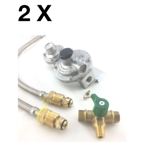LPG DUAL MANUAL GAS REGULATOR KIT- DOUBLE BOTTLE - Suit Caravan Home Use 2 stage
